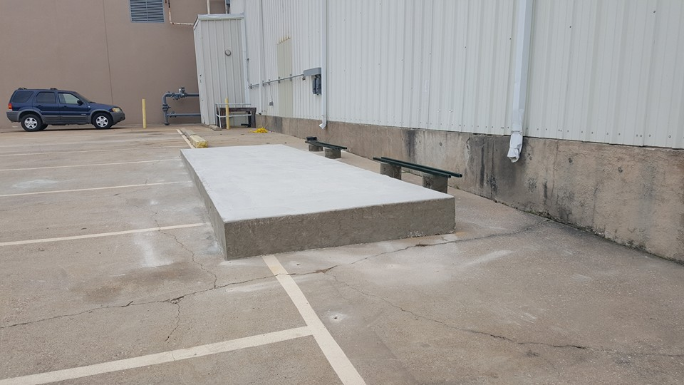 commercial HVAC pad finished dried